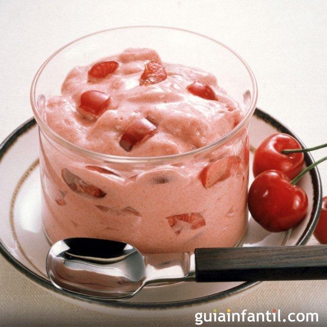 Mousse de cerezas. Receta fácil para el postre
