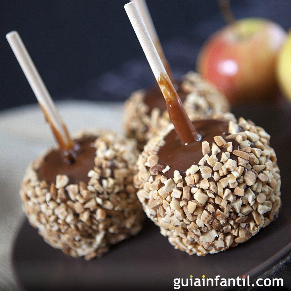 Manzanas crujientes de caramelo y chocolate