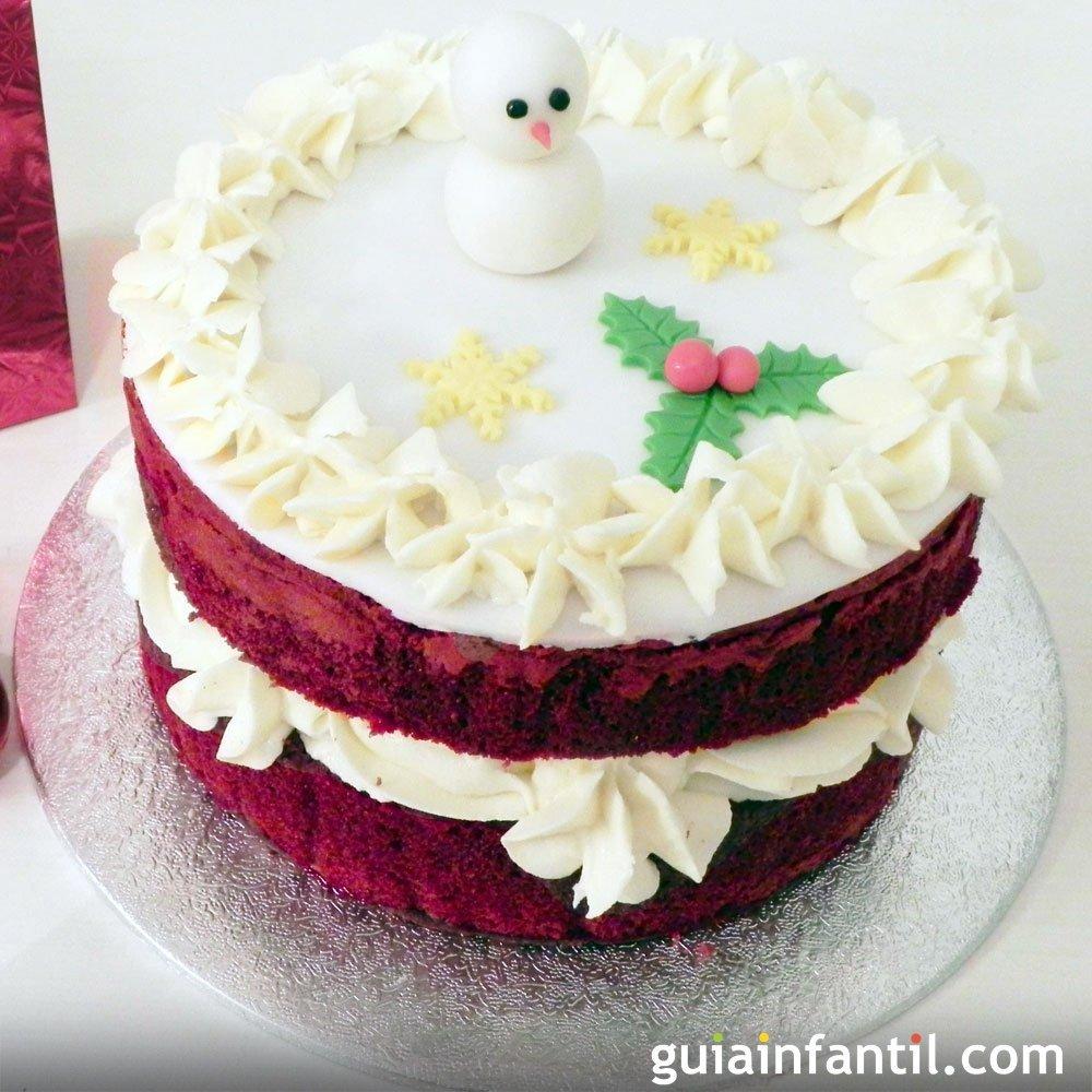 Red velvet navide a tarta roja y blanca para navidad - Tarta red velvet alma obregon ...