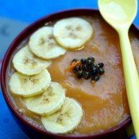 Crema de papaya, plátano y manzana asada. Postre sano para niños