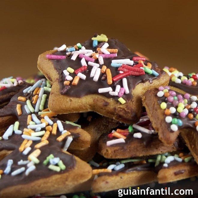 Pastas navideñas con cobertura de chocolate