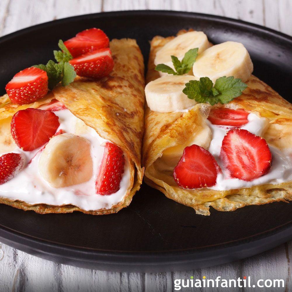Crepes con frutas merienda sana para los ni os Plato rapido y facil de preparar