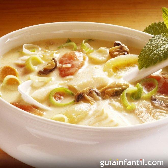 Sopa de pescado, cena para niños