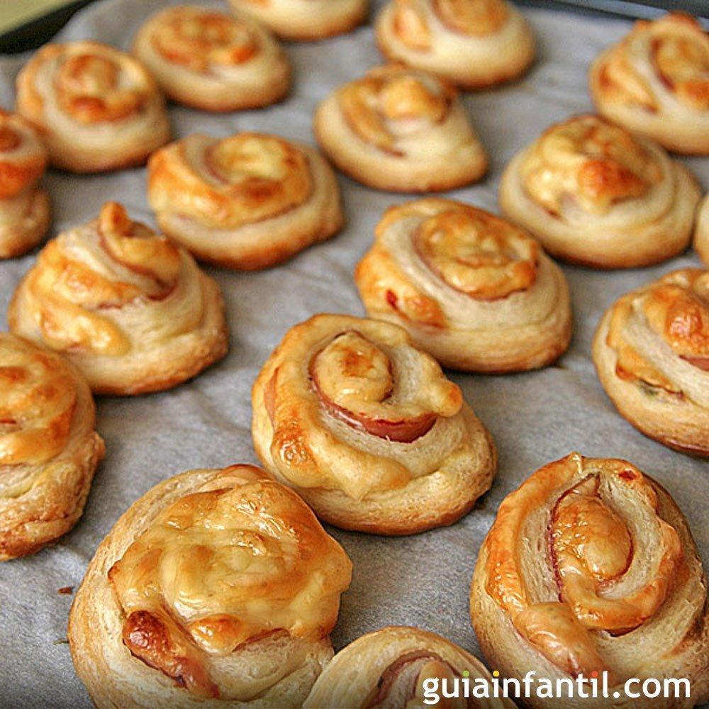 Espirales de jam n y queso aperitivo para ni os for Tapas frias para fiestas