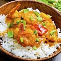 Arroz con gambas al curry, receta rápida
