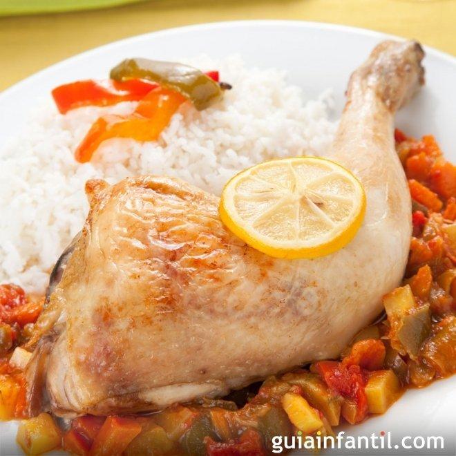 Muslos de pollo al limón, receta sana para niños