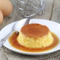 Flan de huevo ligero, con leche de soja