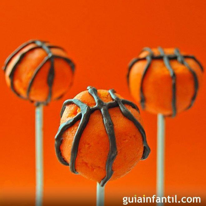 Cakepops de baloncesto con chocolate y naranja