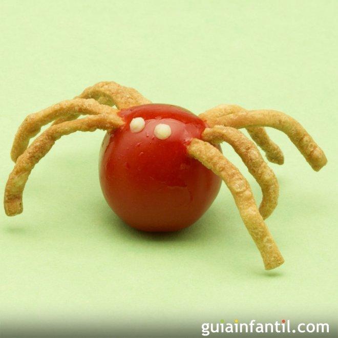 Arañas con tomates cherry. Aperitivo divertido