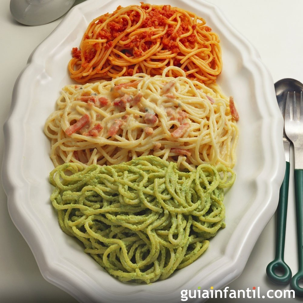 Espaguetis a las tres salsas for Plato de espaguetis
