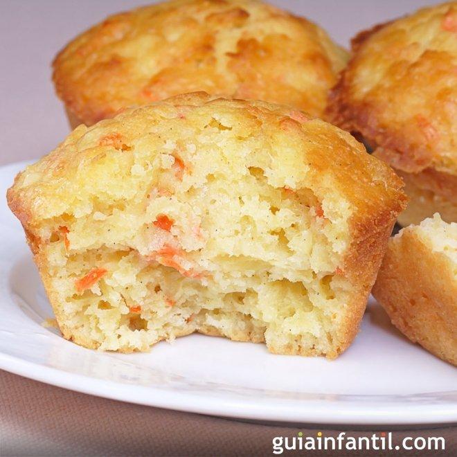 Muffins o magdalenas de zanahoria y piña