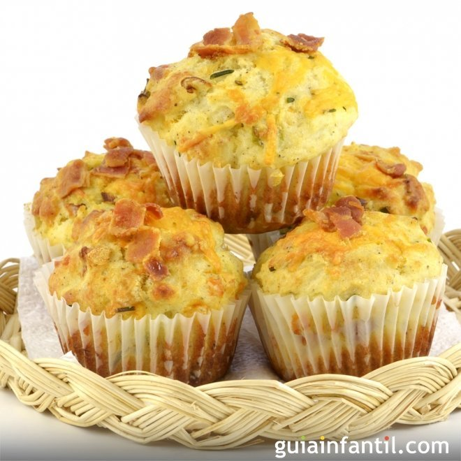Muffins salados de jam n y queso for Canape de jamon y queso