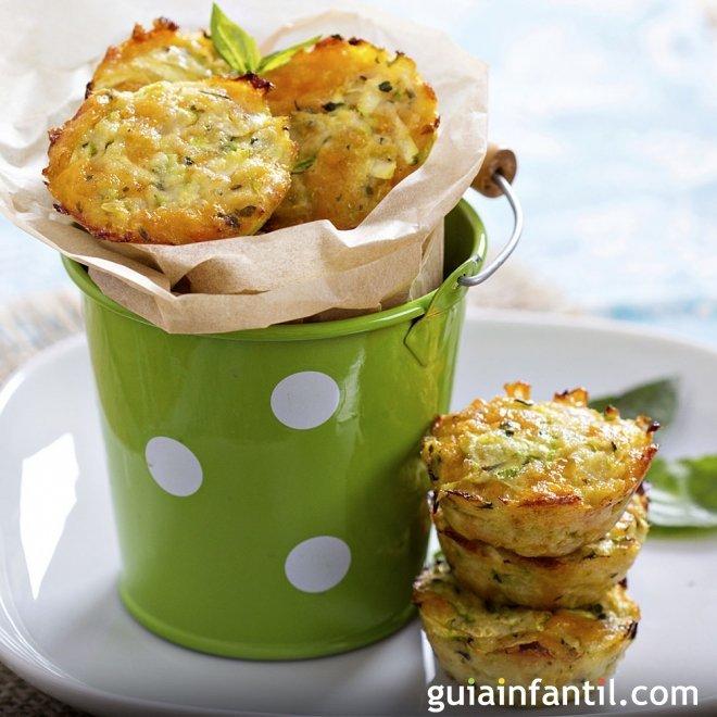 Muffins de calabacín, tiernos y aromáticos