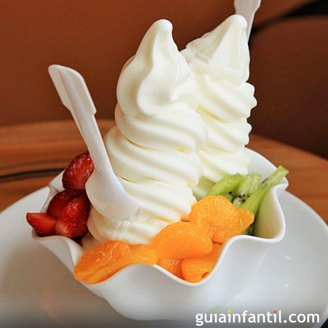 Helado de yogur para niños, suave y cremoso