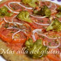 Pizza vegetal sin gluten ni huevo, sana y ligera