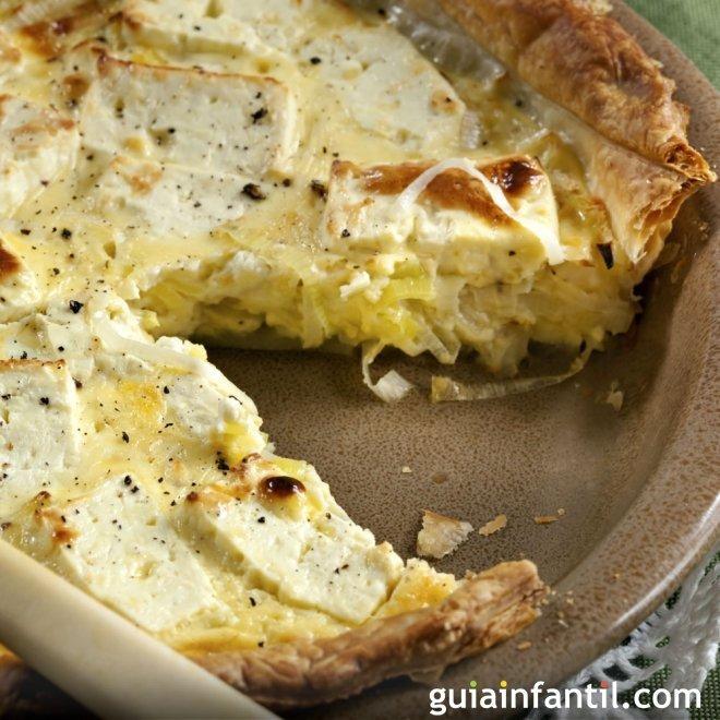 Quiche de puerros, cebolla y queso de cabra. Una receta francesa