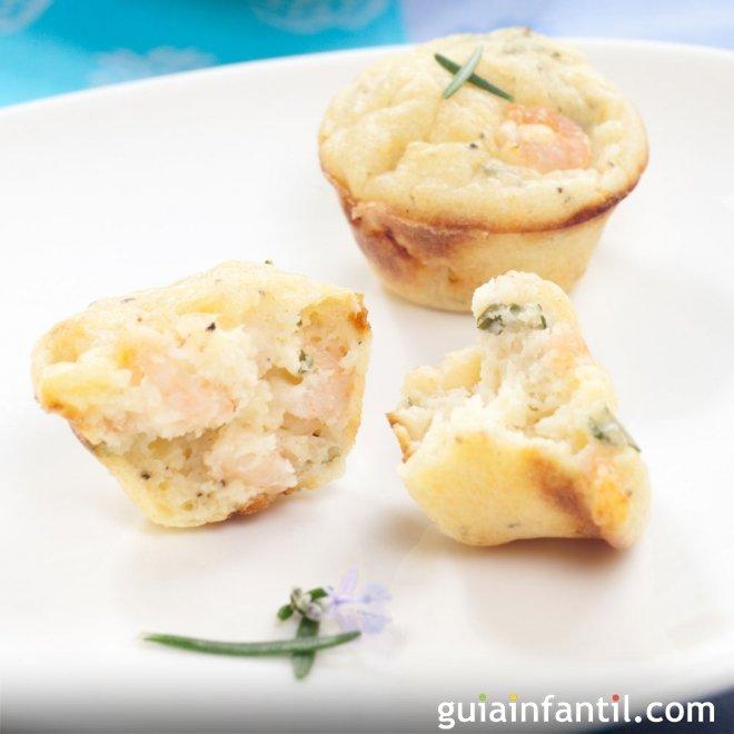 Muffins o magdalenas de gambas. Receta para niños