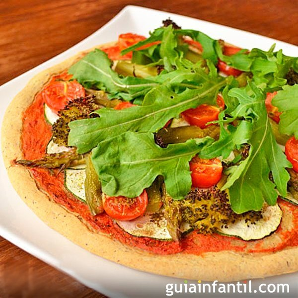 Pizza vegetariana sin gluten para niños celíacos