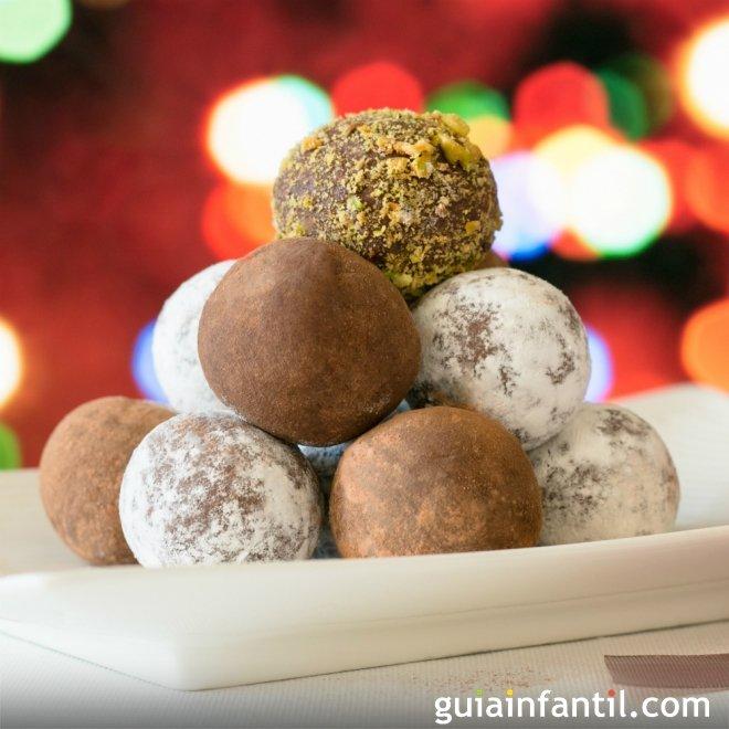 Trufas navideñas para niños sin nueces ni gluten