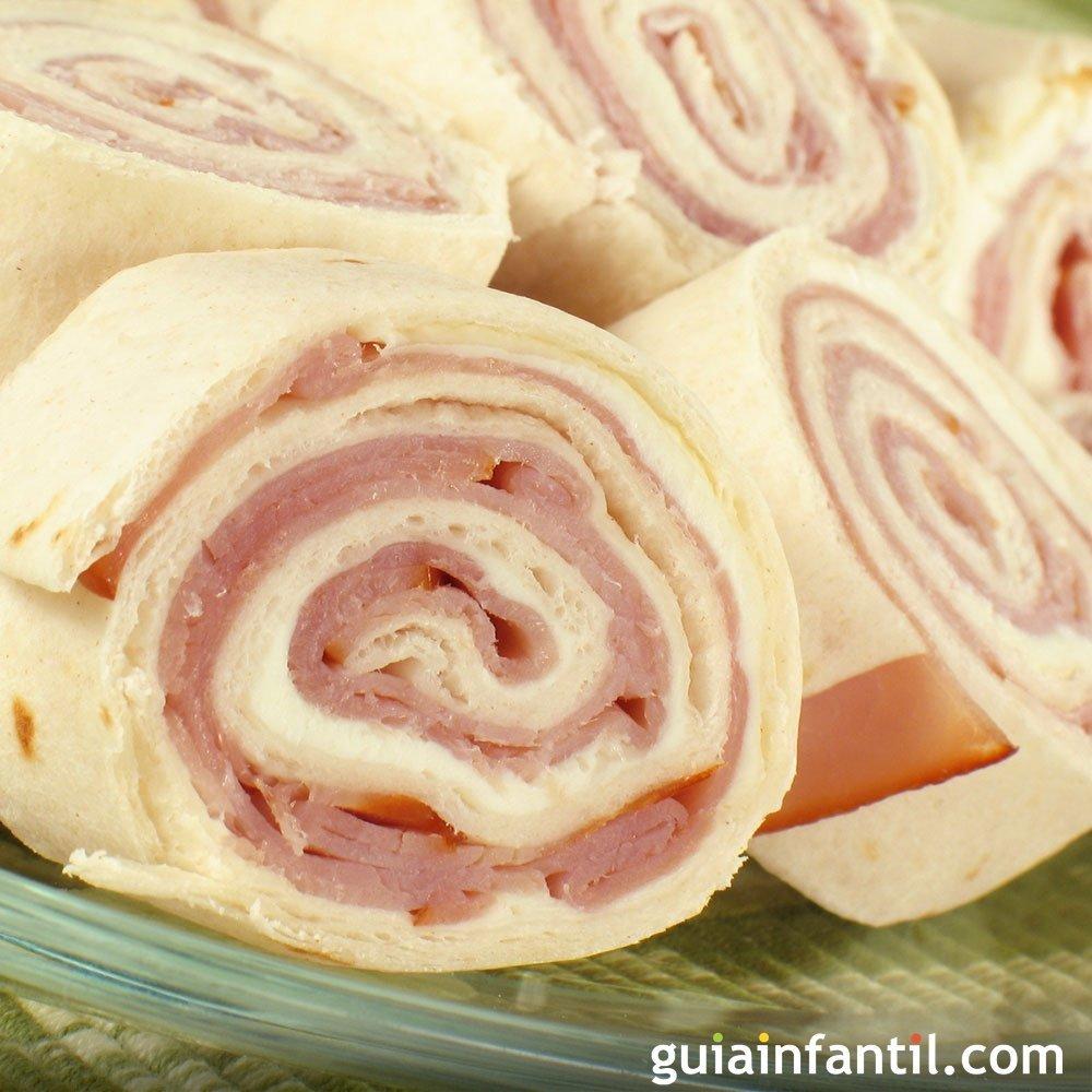 Rollitos de tortilla con jam n y queso recetas r pidas for Canape de jamon y queso