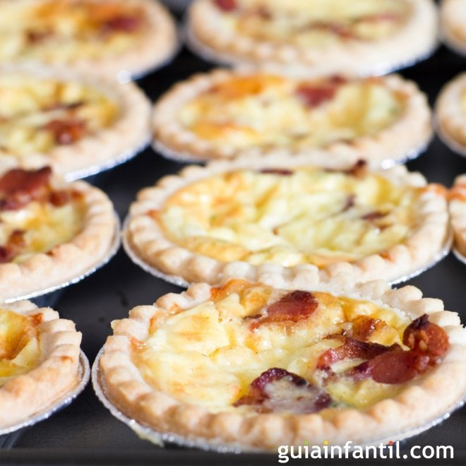 Mini quiches de bacon y queso. Receta divertida