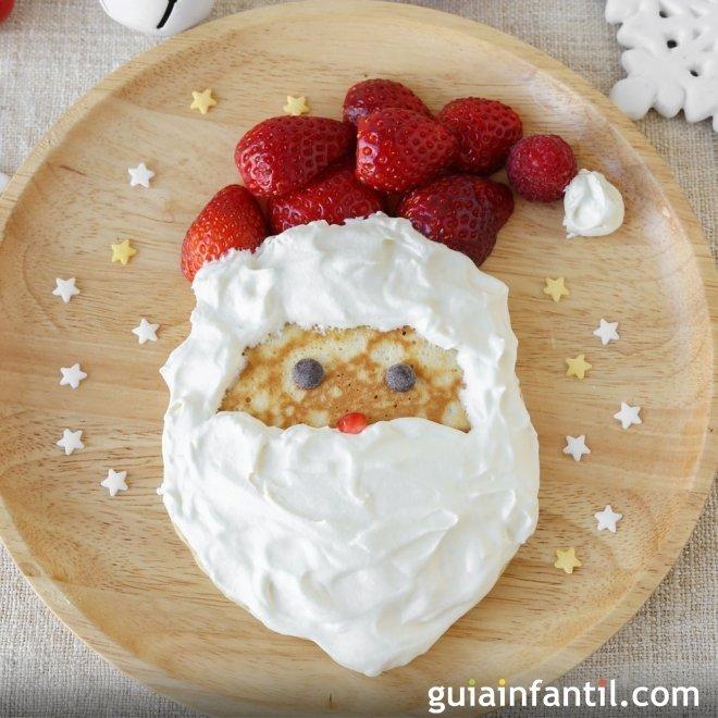 Tortita o crepe de Navidad con la cara de Papá Noel