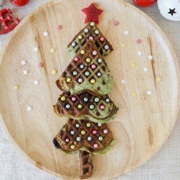 Crepes con forma de árbol de Navidad