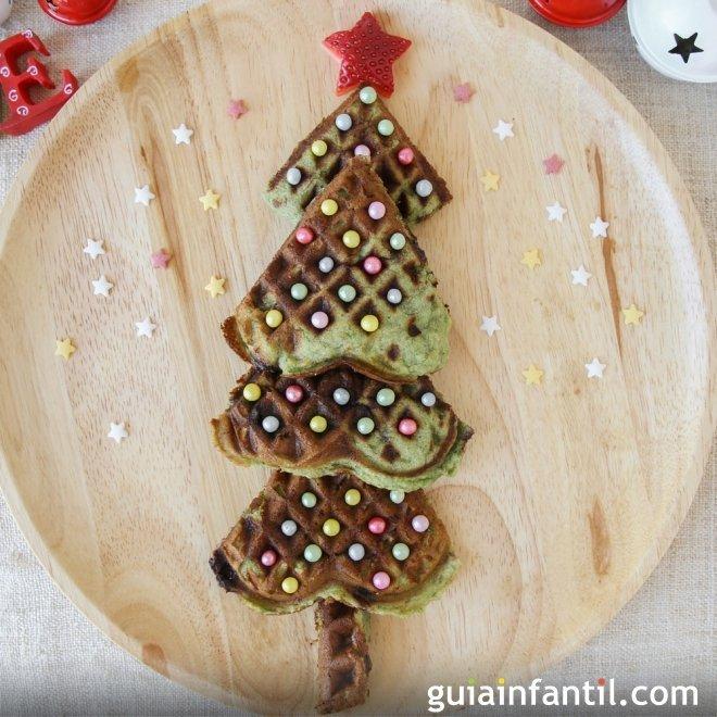 Tortita o crepe con forma de árbol de Navidad