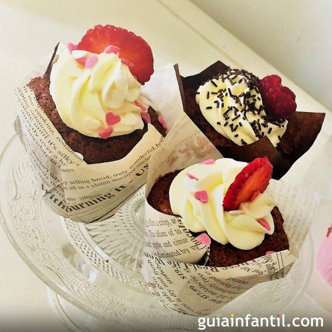 Receta de muffins caseros con corazones para San Valentín