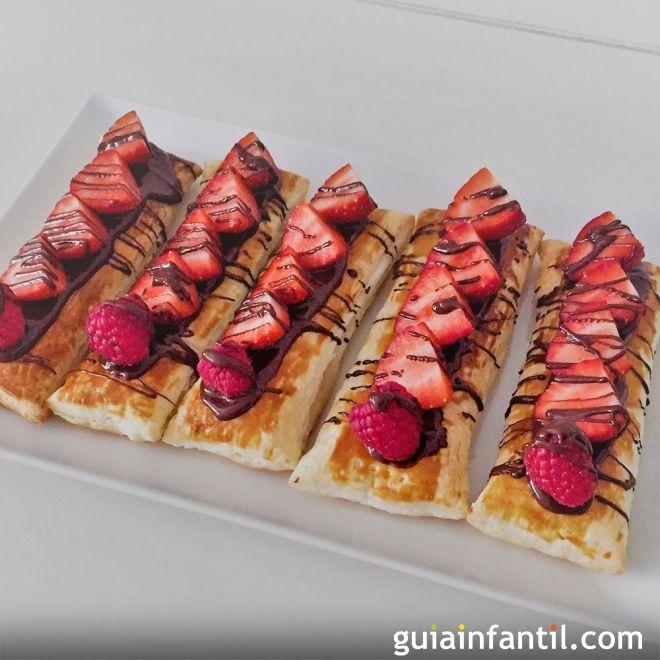 Receta de hojaldre con fresas y chocolate. Recetas rápidas