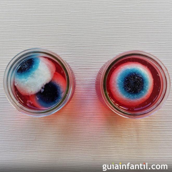 Ojos de gelatina. Receta de Halloween para niños