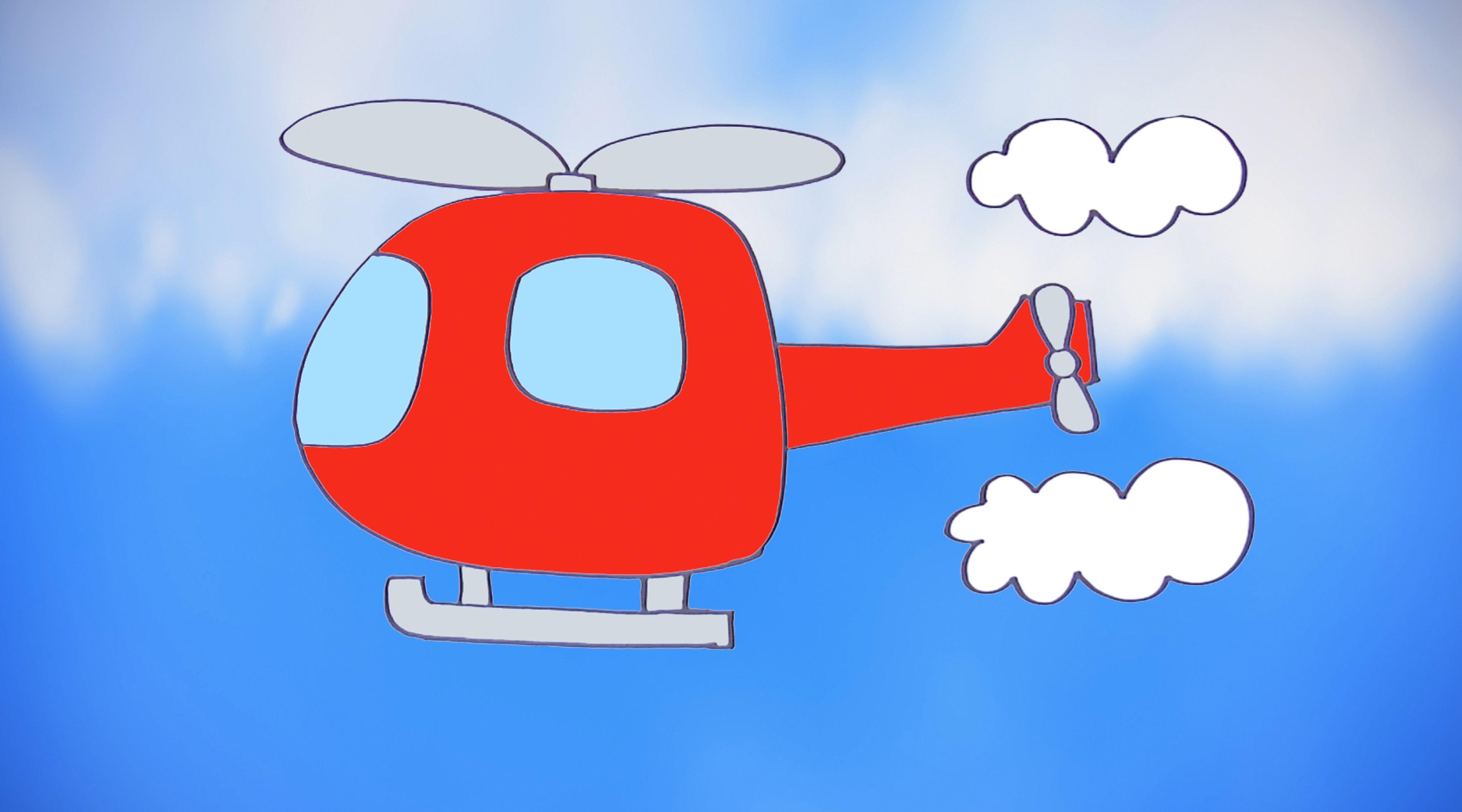 C mo dibujar un helic ptero dibujos de transportes para ni os - Dibujos pared infantil ...