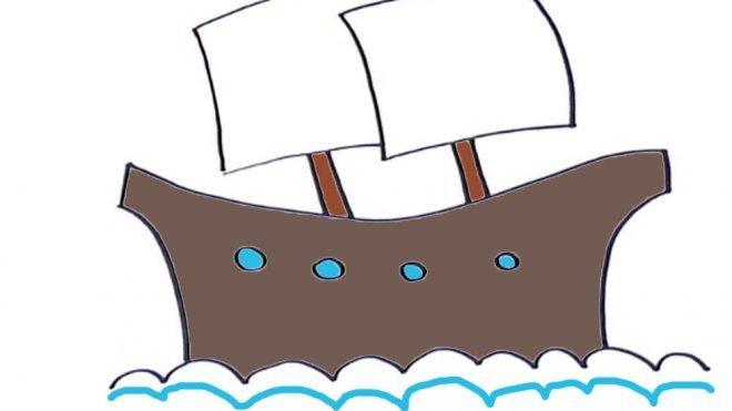 Cómo Dibujar Un Buque De Vela Dibujos De Barcos Para Niños