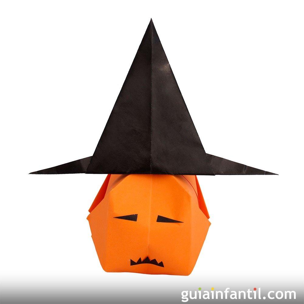 Origami de calabaza papiroflexia de halloween - Calabazas halloween originales para ninos ...