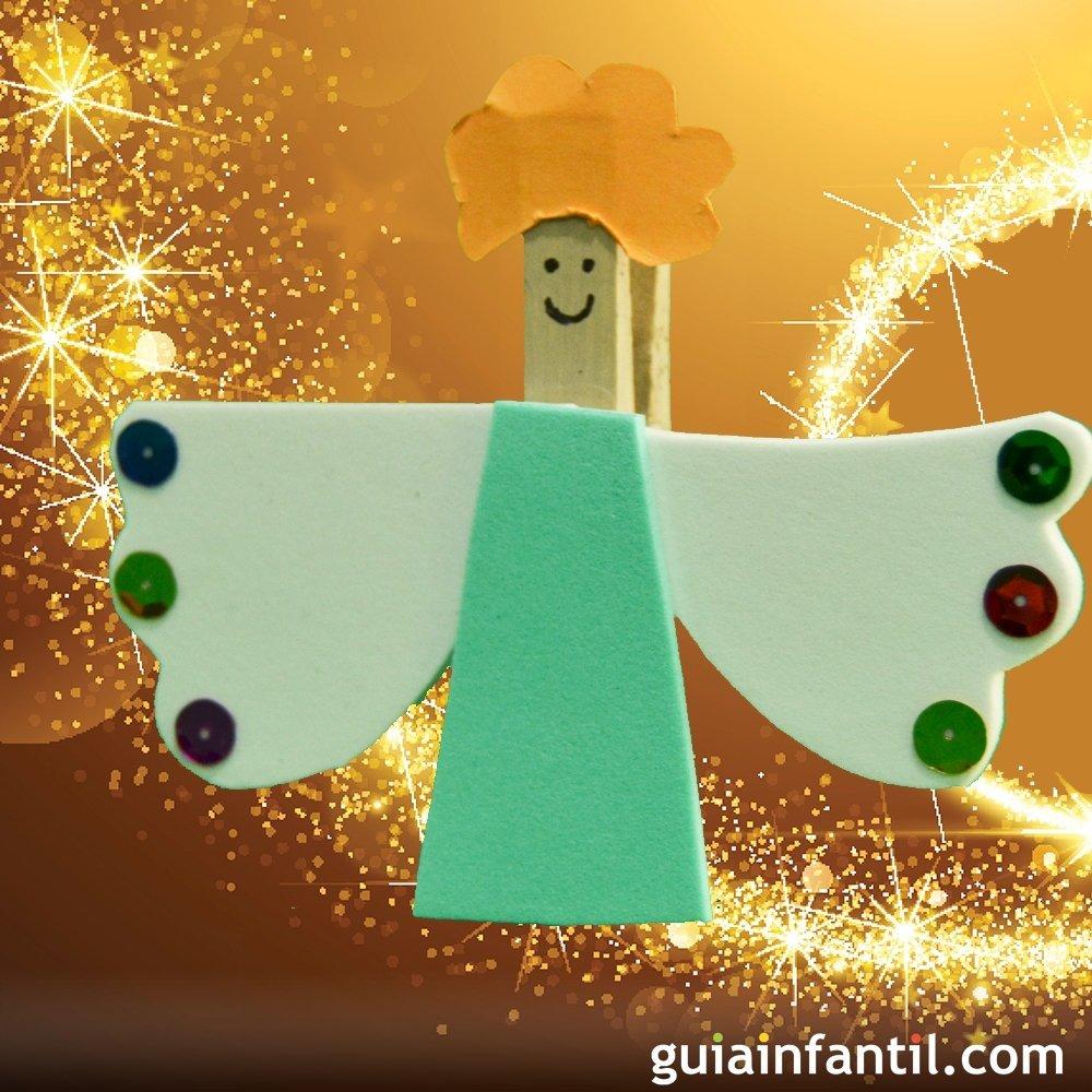 Ngel de pinza para el rbol de navidad manualidad infantil - Arbol de navidad infantil ...