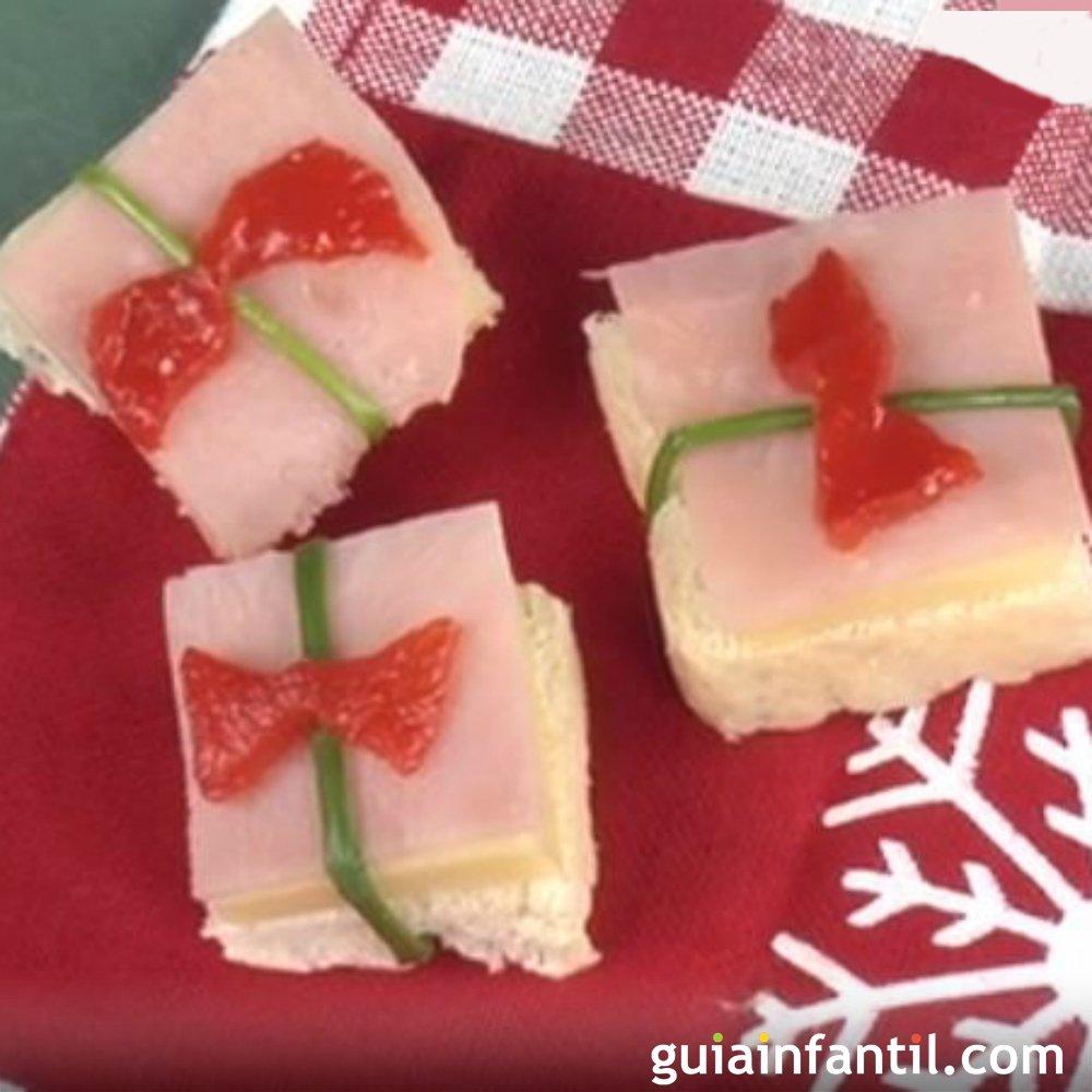 Regalo de jam n y queso canap s para la navidad for Canape de jamon y queso