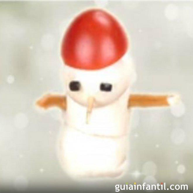 Muñeco de nieve. Receta de canapé navideño