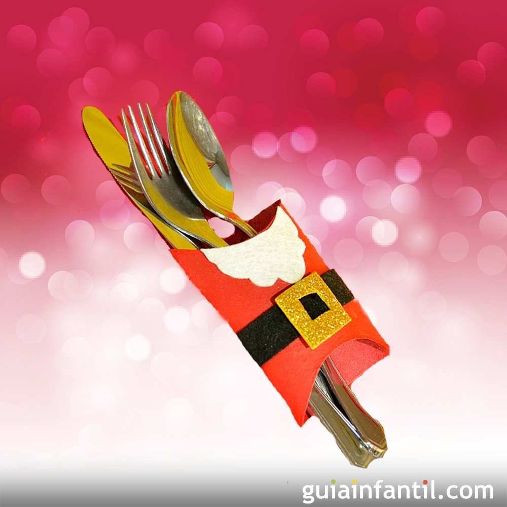 Porta cubiertos de pap noel manualidades para navidad for Manualidades navidenas con cartulina