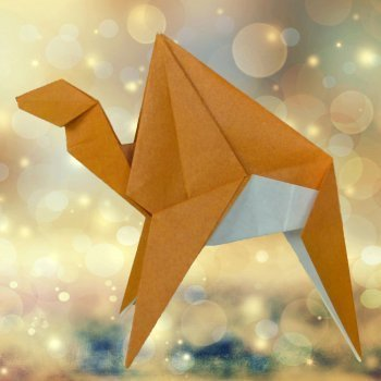 Camello de los Reyes Magos de origami