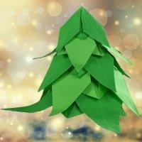 Cómo hacer un árbol de Navidad de origami. Papiroflexia para niños