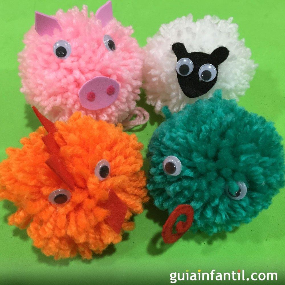 C mo crear animales a partir de pompones de lana for Manualidades para ninos con lana