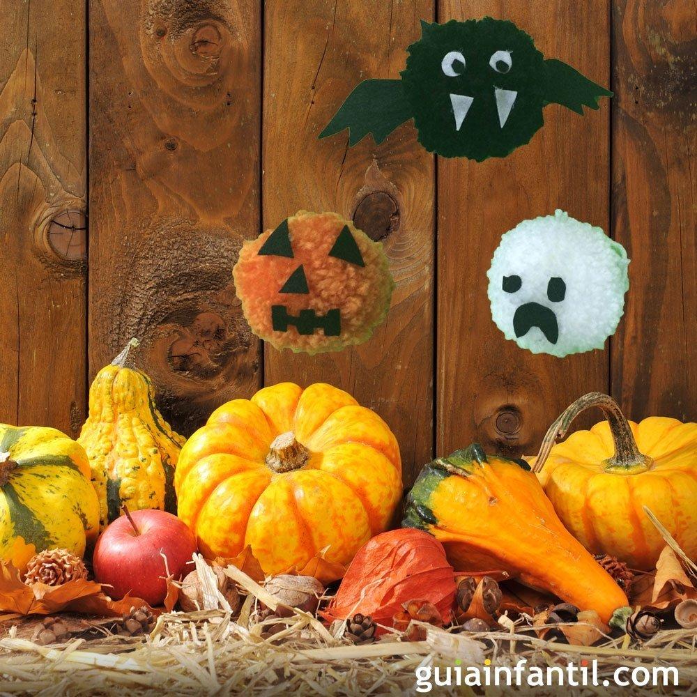 C mo hacer un murci lago fantasma o calabaza para halloween con pompones - Como hacer calabazas de halloween ...