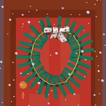 Corona navideña con pinzas
