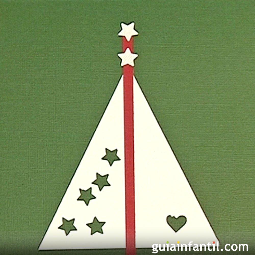 Postales y tarjetas para navidad rbol y estrellas - Tarjeta de navidad para ninos manualidades ...