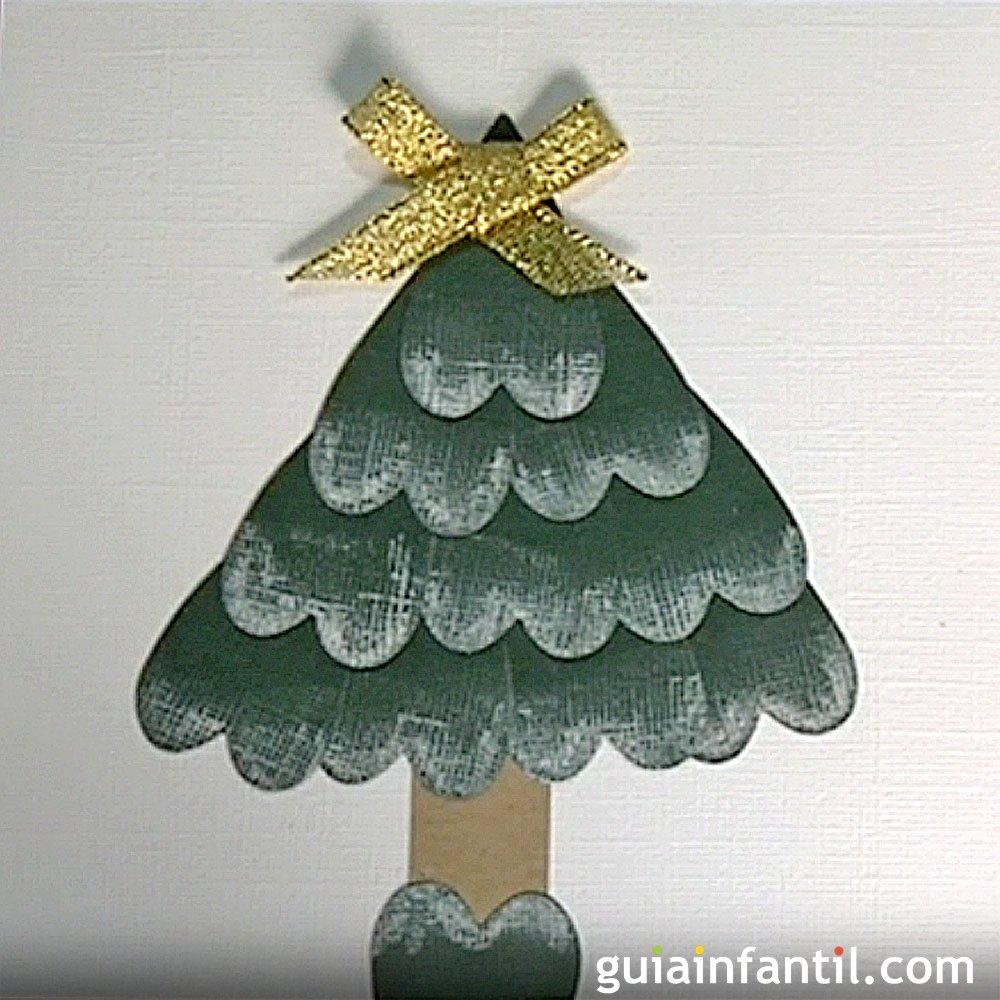 Postal navide a un rbol de navidad manualidades con ni os for Arboles de navidad manualidades navidenas