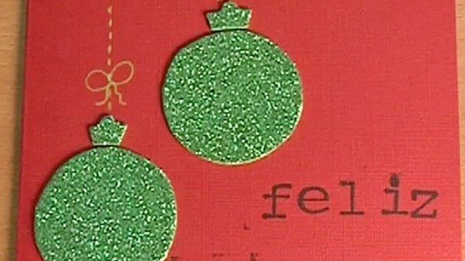 Felicitaciones Navidad Ingeniosas.Felicitacion De Navidad Con Bolas Brillantes Manualidades