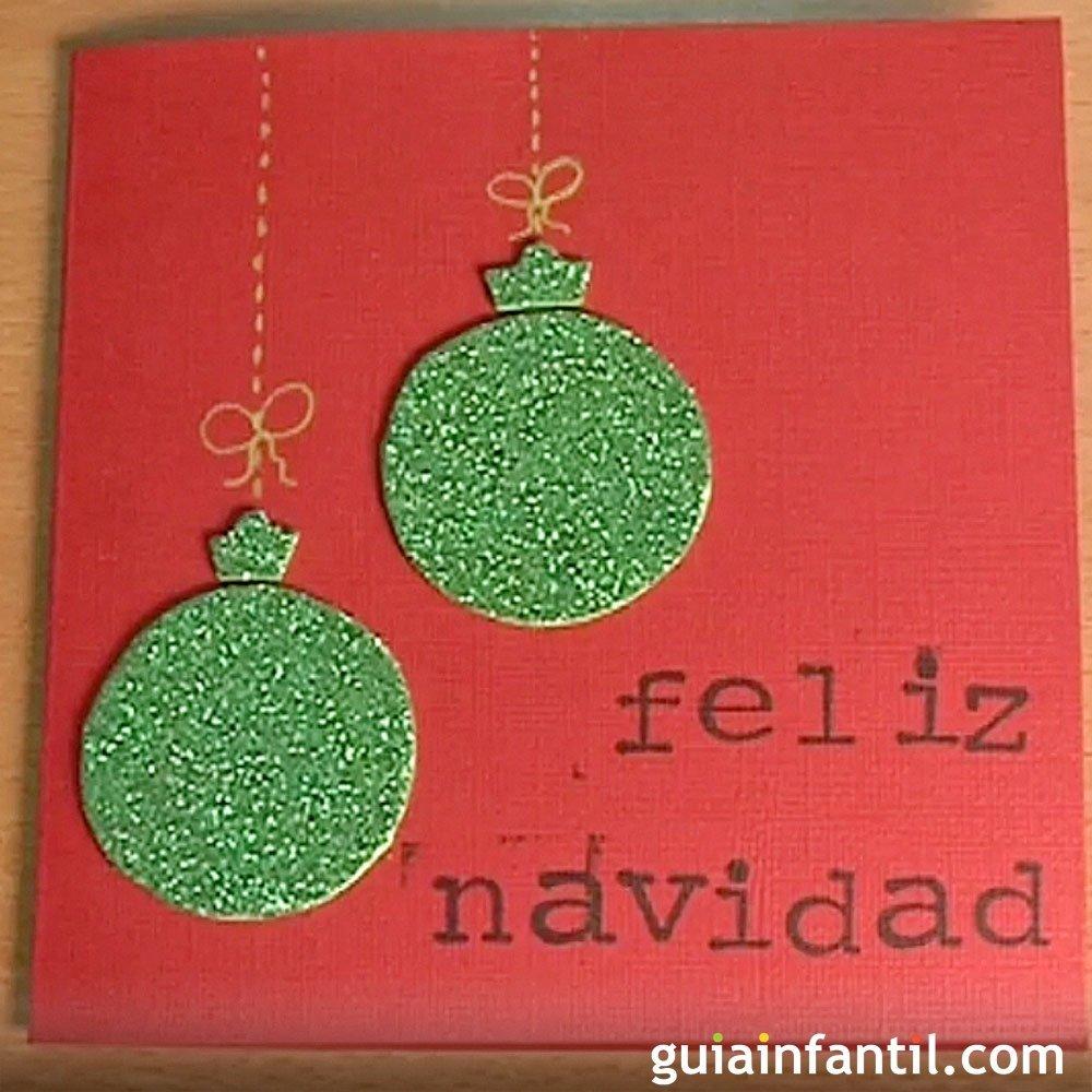 Felicitaci n de navidad con bolas brillantes manualidades - Manualidades ninos navidad ...