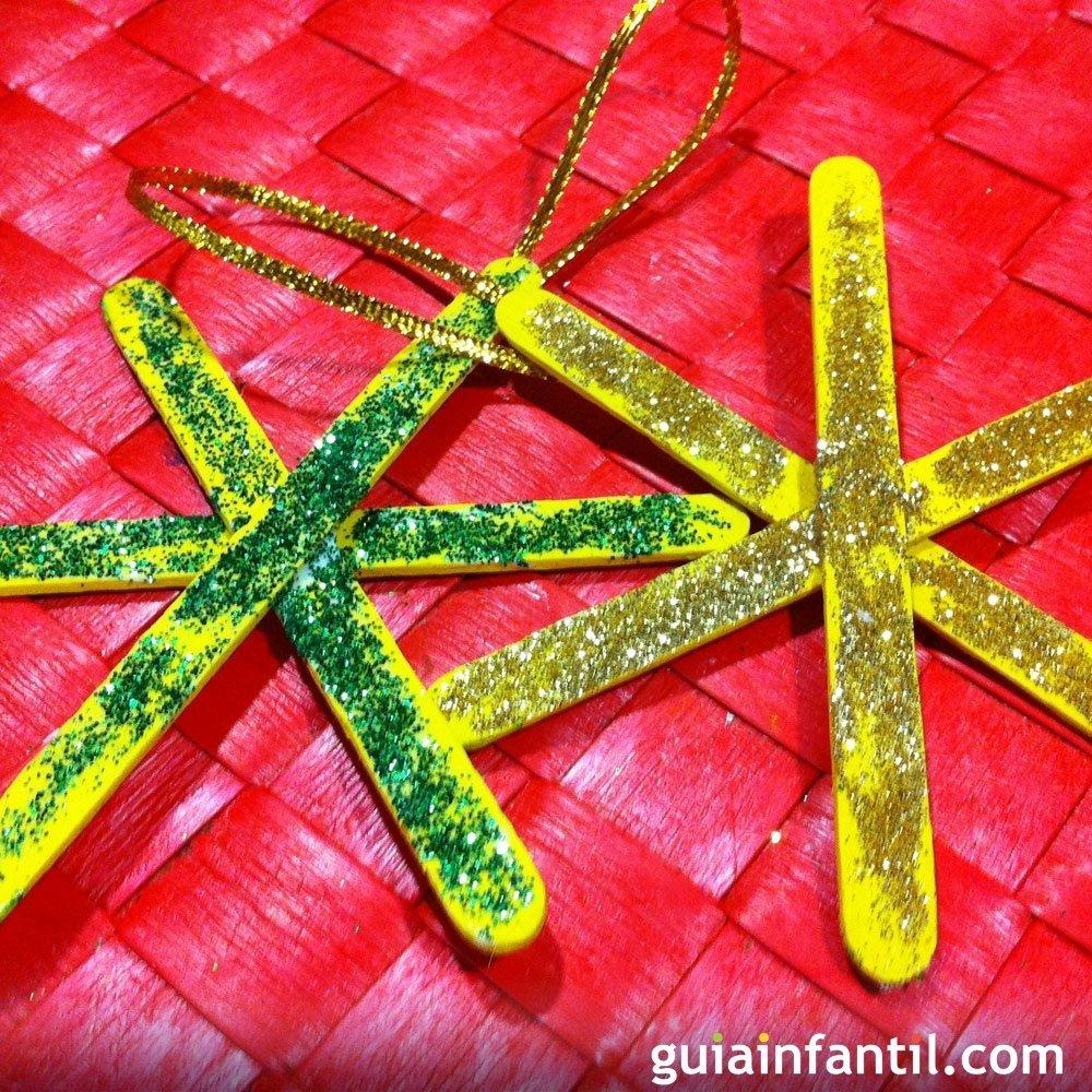 Una estrella con purpurina manualidades para decoraci n - Decoracion de navidad para ninos ...