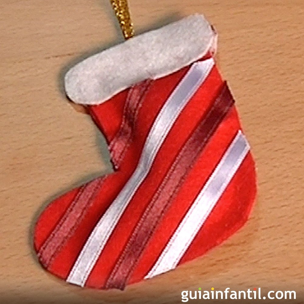 Una bota adornos de navidad con fieltro manualidades - Adornos con fieltro ...