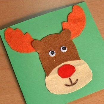 Postal con reno de Navidad